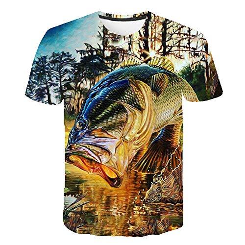 ZHRDRJB 3D T-Shirts,Sommer T-Shirt Männer 3D Woods Fisch Gedrucktes T-Shirt Mode Kurzarm Tops Street Round Neck Neuheit T-Shirt Unisex Casual T-Shirt, M.