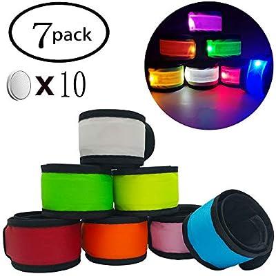 Anmixinuss Pack of 7 LED Light Up Armband Reflective Gear Lights Slap Bracelets for Women Men Kids Night Running Dog Walking Safety (7 Pack - Colorful)
