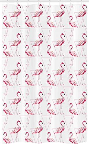 ABAKUHAUS Flamingo Schmaler Duschvorhang, Geometrisch, Badezimmer Deko Set aus Stoff mit Haken, 120 x 180 cm, Pfirsich Weiß