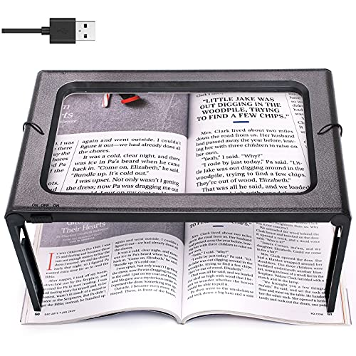NZQXJXZ Lupe mit Licht 3X Groß 6LEDs Hände Frei Leselupe, Vollbild für die Nutzung mit Ständer oder Halsschlaufe Lesehilfe, USB und Batteriebetrieb für Senioren,Lesen,Nähen,Geschenk