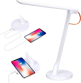 Phone App & Voice Control Smart LED Desk Lamp with Wireless & USB Charger, Multi-Level Brightness Adjustment Eye Caring Reading Table Light Easy Wi-Fi Connection Compatible with Echo Alexa Google Home