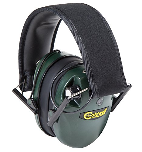 Caldwell E-Max - ADULT Green - Low Profile Electronic 23 NRR Hearing Protection with Sound Amplification - Adjustable Earmuffs for Shooting, Hunting and Range