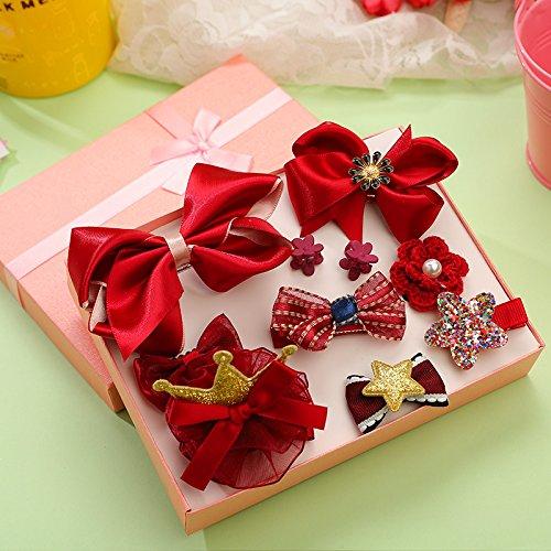 Koreanische Version von Kinderhaarzubehör niedlichen Prinzessin Mädchen Geschenkbox kleines Mädchen Anzug Baby Haarnadel Kopfschmuck kleines Zubehör (rot)