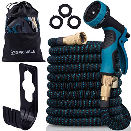 Flexible Garden Hose 50ft - Expandable and Retractable with 9 Spray Pattern, Lightweight and Collapsible Kink Free Usage For Outdoor