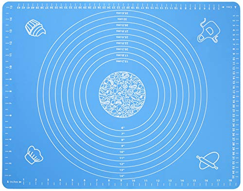 """Silicone Baking Mat for Pastry Rolling Dough with Measurements,19.7"""" x 15.7"""" BPA Free Non stick and Non Slip Blue Table Sheet Baking Supplies for Bake Pizza Cake"""