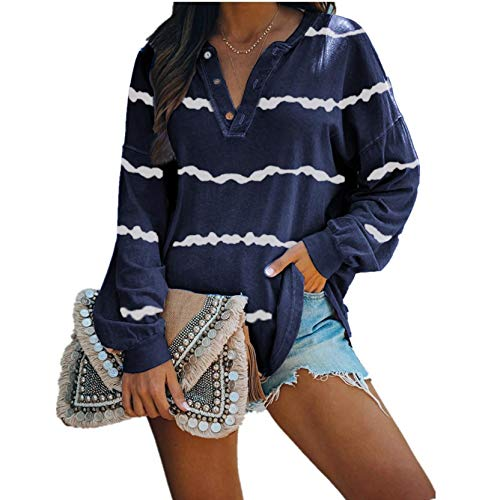 OutTop Women Long Sleeve Tees Shirt Winter Casual Striped Loose Fit Drawstring Button Down T Shirt Blouse Top Pullover (Navy, L)