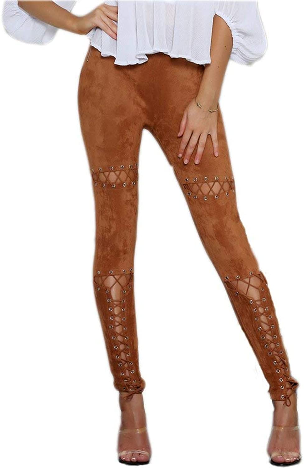 Gamery Women Faux Suede Pants Bodycon Lace Up High Waist Leggings