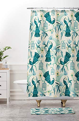 ArthuereBack Boho douchegordijn stof douchegordijn Home Decor chinoiserie douchegordijn badkamer decoratie volière crème ontwerp vogels