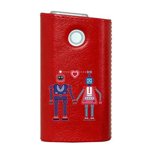 glo グロー グロウ 専用 レザーケース レザーカバー タバコ ケース カバー 合皮 ハードケース カバー 収納 デザイン 革 皮 RED レッド ロボット ハート かわいい 011929