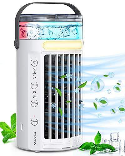 Condizionatore Portatile, Manwe Mini Condizionatore D'aria 4-in-1 Climatizzatore Air Cooler, Raffreddatore Evaporativo Portatile con 3 Velocità e 7 LED Colori, per Casa/Ufficio