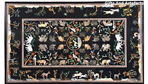 Gifts And Artefacts Rechteckige Form, schwarzer Marmor, Konferenztisch, Pietra Dura Art, Tiermuster, kann verwendet werden, Terrasse, Couchtisch, 91,4...