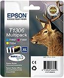 Epson Original T1306 Tinte Hirsch (SX420W BX320FW SX620FW BX/SX525WD BX625FWD BX305FW B42WD BX925FWD BX635FWD BX535WD SX435/440W BX630FW SX235W WF7015 7515 7525 3010 3520 3540) Multipack 3-farbig