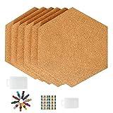 Tablero de corcho hexagonal, 6 paquetes de tablones autoadhesivos con forma de diamante para decoración de pared, para el hogar, oficina, aula, con 50 pines multicolores, 6.7 x 7.75 pulgadas