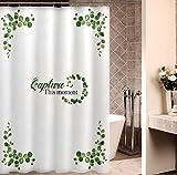JOVEGSRVA Cortinas de ducha de hojas de dibujos animados, impermeables, cortina de baño a prueba de moho, cortina de baño con 12 ganchos, 180 x 200 cm