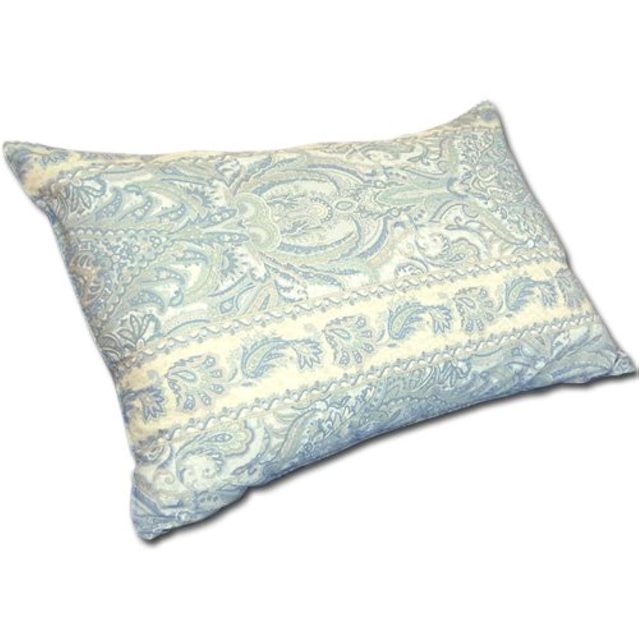 発表虎エンコミウム日本製 ペイズリー 柄 高密度 防ダニ ピロケース 枕 カバー 『ヴェルサイユ』 43×63cm ブルー