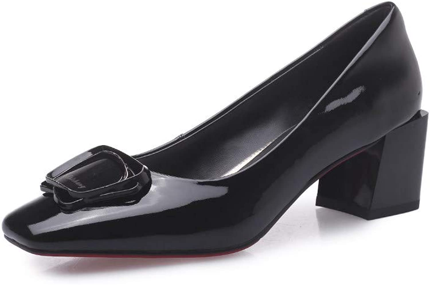 Nine Seven Women's Patent Leather Closed Square Toe Mid Chunky Heel Handmade Casual Comfort Work Dress Pumps