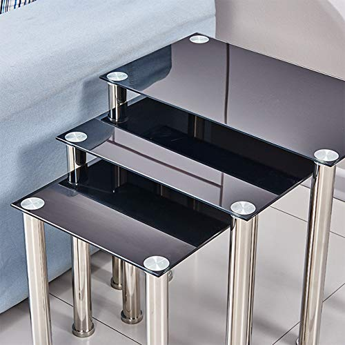 Ansley&HosHo Black Glass Nesting Tables Glossy Nest of 3 Tables Rectangular with Chrome Legs Sofa Side Table End Table Coffee Table for Living Room Reception Room Limited Space