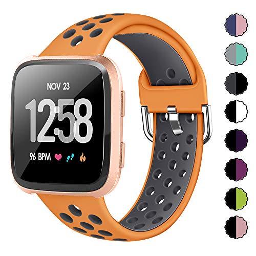 XIMU Compatible con Fitbit Versa/Versa 2/Versa Lite Correa de Recambio Tejida,Silicona de Sport Mujeres Ccorreas de Fitbit Versa/Versa 2/Versa Lite (L (6,7-8,6 Inch), Naranja Gris)