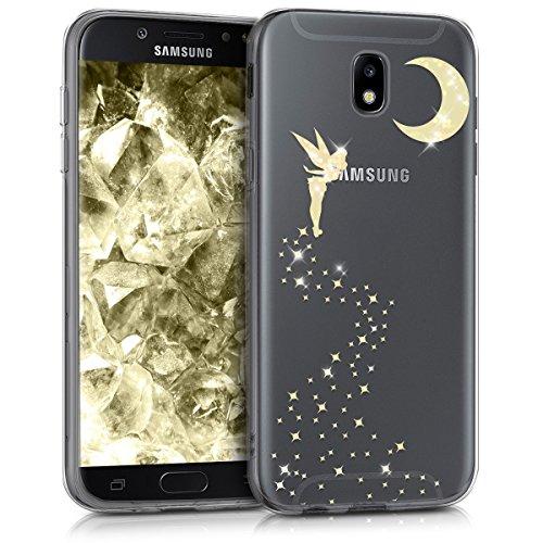kwmobile Funda Compatible con Samsung Galaxy J5 (2017) DUOS - Carcasa de TPU Hada Brillante en Dorado/Transparente