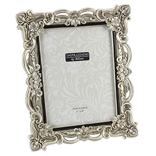 Impressions - Antique Silver Floral Resin Photo Frame With Crystals - 15cm X...