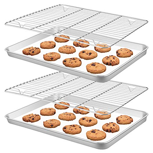 Rayze Baking Sheet Pan [2 Sheets + 2 Racks], Heavy Duty Warp Resistant Stainless Steel Cookie Sheet Baking Pan Tray with Cooling Rack, Size 16 x 12 x 1 inch