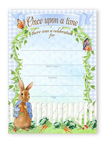 Convites grandes de festa de Peter Rabbit - 10 convites 10 envelopes - Convites de chá de bebê - Convites de aniversário
