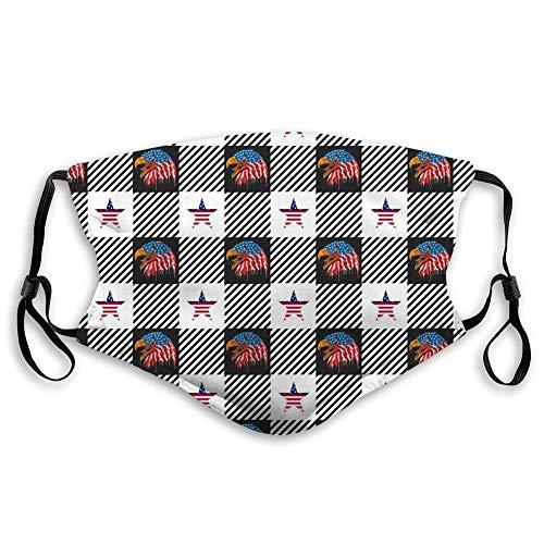 Mund Scraf Gesichtsbedeckung Anit Staubschutz Gingham Buffalo Plaid America Eagles mit Flagge und Sternen