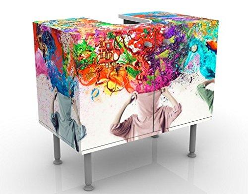 Apalis Waschbeckenunterschrank Brain Explosions 60x55x35cm Bunt Farben, Größe:55cm x 60cm