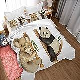Funda nórdica,Impresión 3D-Koala y Panda 3 Piezas de Funda de edredón con Cremallera de Microfibra(240x200cm),Funda de Almohada (50x75cm) x2, decoración de la casa.