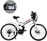 MJY Bicicletas de montaña eléctricas, batería de litio extraíble de 24 pulgadas Bicicleta de montaña eléctrica plegable con bolsa colgante Tres modos de conducción Adecuado 6-20,8ah / 384Wh