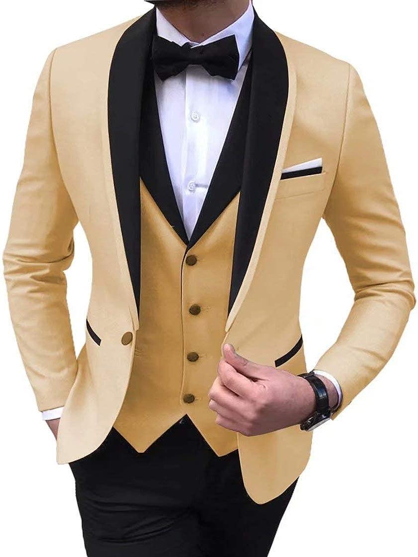 Men 2021 Suits 3 Piece Black Shawl Lapel Casual Tuxedos for Wedding Groomsmen Suits (Blazer+Vest+Pant)