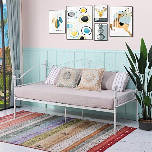 EGGREE Cama Sofa Metálica, Estructura Cama Individual de Metal Nordico, 90 x 190 cm - Blanco