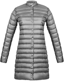 Down Jacket for Winter Commuting Light and Long mid-Length Down Jacket Women's Light Stand Collar Thin Jacket (Color : Silver, Size : XS)