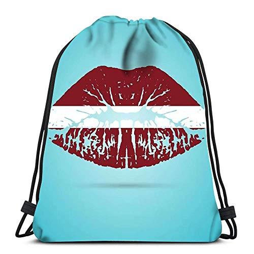 Unisex Drawstring Backpack,Lettland Flagge Lippenstift Auf Den Lippen Weißer Kuss Sport Tunnelzug Gymsack Stilvoll Rucksack Beutel Tasche Verstellbar Kordelzug Rucksack Für Schule Schwimmen Reisen