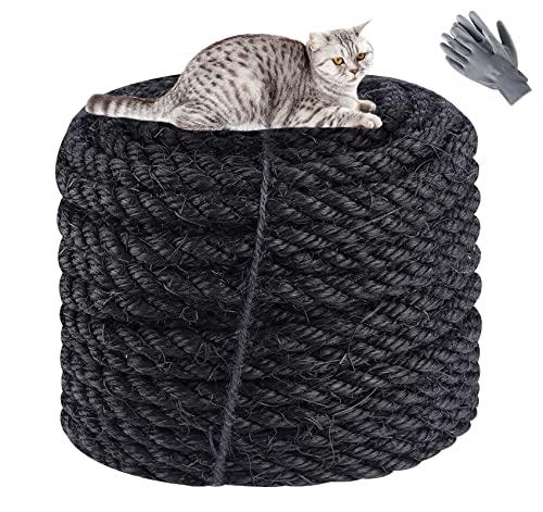 Natürliches Sisal Seil 8 mm x 60 m,Sisalseil für Reparatur und Ersatz von Katzen,Schwarzes Sisalseil für Kratzbäume,Spielzeug für Katzen,Gartendekoration (Mit einem Paar Schutzhandschuhen)