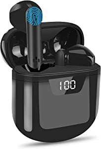 Hotlife True Wireless Earbuds with Microphones, IPX6 Waterproof 5.0 Bluetooth Headphone with LED Display Charging Case for iPhone and Android, Touch Control in-Ear Stereo Earphone for Work/Sports