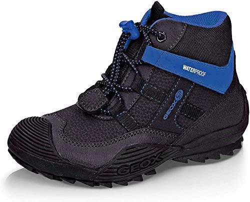 Geox Jungen Winterstiefel ATREUS Boy WPF, Kinder Stiefel,Winter-Boots,Outdoor-Kinderschuhe,warm,wasserdicht,DK Grey/ROYAL,28 EU / 10 UK Child