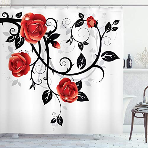ABAKUHAUS Gotisch Duschvorhang, Wirbelnde Roses Garten, mit 12 Ringe Set Wasserdicht Stielvoll Modern Farbfest & Schimmel Resistent, 175 x 240 cm, Vermilion Schwarz-weiß