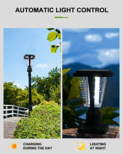 LOVUS Solar Post Light, 6000K Outdoor Solar Post Lantern LED Light with 3-Inch Pier Mount Base for Wood Fence, Pathway, Deck (White Light)