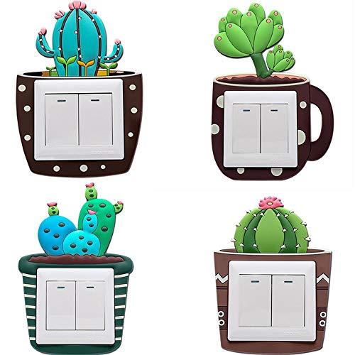 4 stuks cactus vetplantaardig lichtschakelaar stickers afdekking/kinderen slaapkamer decoratie wandsticker, zelfklevende lichtschakelaar stickers voor kleuterschool jongens meisjes