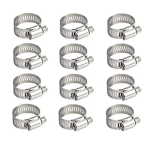 ZHjuju Fascette Stringitubo,12pz Morsetti per Tubi Regolabili 10-16mm Acciaio Inox Clip per Tubi per Stringi Tubo Tubature Carburante Condotte,Automotive,Applicazioni Industriali.