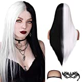 fani 22 inch Half Black Half White Long Straight Wigs Women Middle Part Wig Synthetic Hair Wigs for Halloween Cosplay Makeup Party Replacement Hair