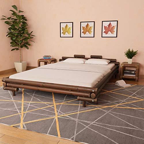 UnfadeMemory Bambusbett Doppelbett Bambus Bettgestell Bambusbettrahmen Schlafzimmerbett Gästebett Bett für Schlafzimmer Gästezimmer Jugendzimmer (Dunkelbraun, 160 x 200 cm)