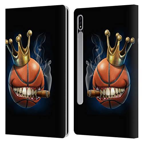 Head Case Designs Oficial Tom Wood Rey del Baloncesto Monstruos Carcasa de Cuero Tipo Libro Compatible con Samsung Galaxy Tab S7 5G