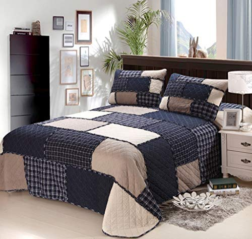 ACGN Bed Linings 100% Cotton Quilted Bedspread Throw Double King 3 Pcs Size Best Striped Comforter Patchwork Quilts Bed Throw Set Bedding Sets