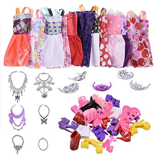 Vestiti Barbie e Accessori, 35Pz Accessori per 28-30 Cm / 11.5 Pollici Bambola, incl 12 Mini Gonna Carina + 12 Paia di Barbie Scarpe+ 5 Diademi + 6 Collane, Ragazza Compleanno Regalo