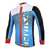Maillot Ciclismo Manga Larga para Hombre,Verano Bike Abrigo Camiseta Ciclismo Bicicleta Jersey Chaqueta,Secado Rápido Transpirable Bicicleta MTB Shirts(Size:S,Color:Azul)