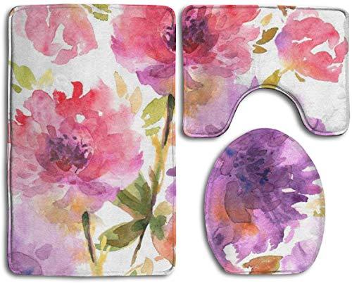 Composición de Gerberas Rosas y Pequeñas Flores Antideslizantes Juego de 3 alfombrillas de Baño Incluye Alfombra de Baño/Esterilla de Contorno / Cubierta de Inodoro