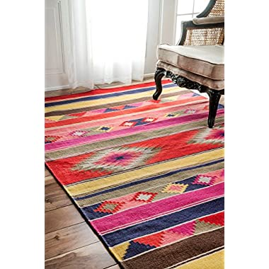 nuLOOM Handmade Flat Weave Wool Tribal Kilim Area Rugs, 5' x 8', Multicolor