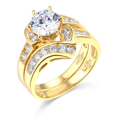 TWJC 14k Yellow Gold Solid Wedding Engagement Ring and Wedding Band 2 Piece Set - Size 9
